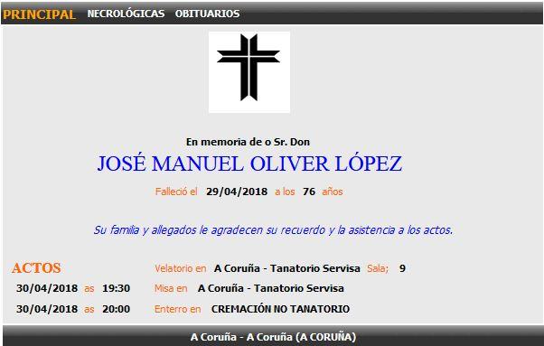 Esquela de José Manuel Oliver López