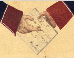 Detalle de un guardia a caballo de la Renta de Correos (izquierda) entrega a un cabo de a pie del Correo una carta del Real Servicio