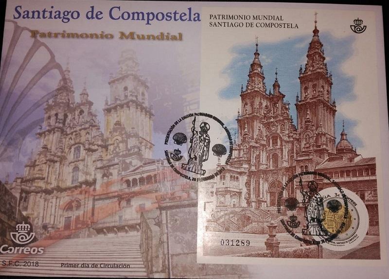 Sobre conmemorativo Santiago de Compostela Patrimonio Mundial.