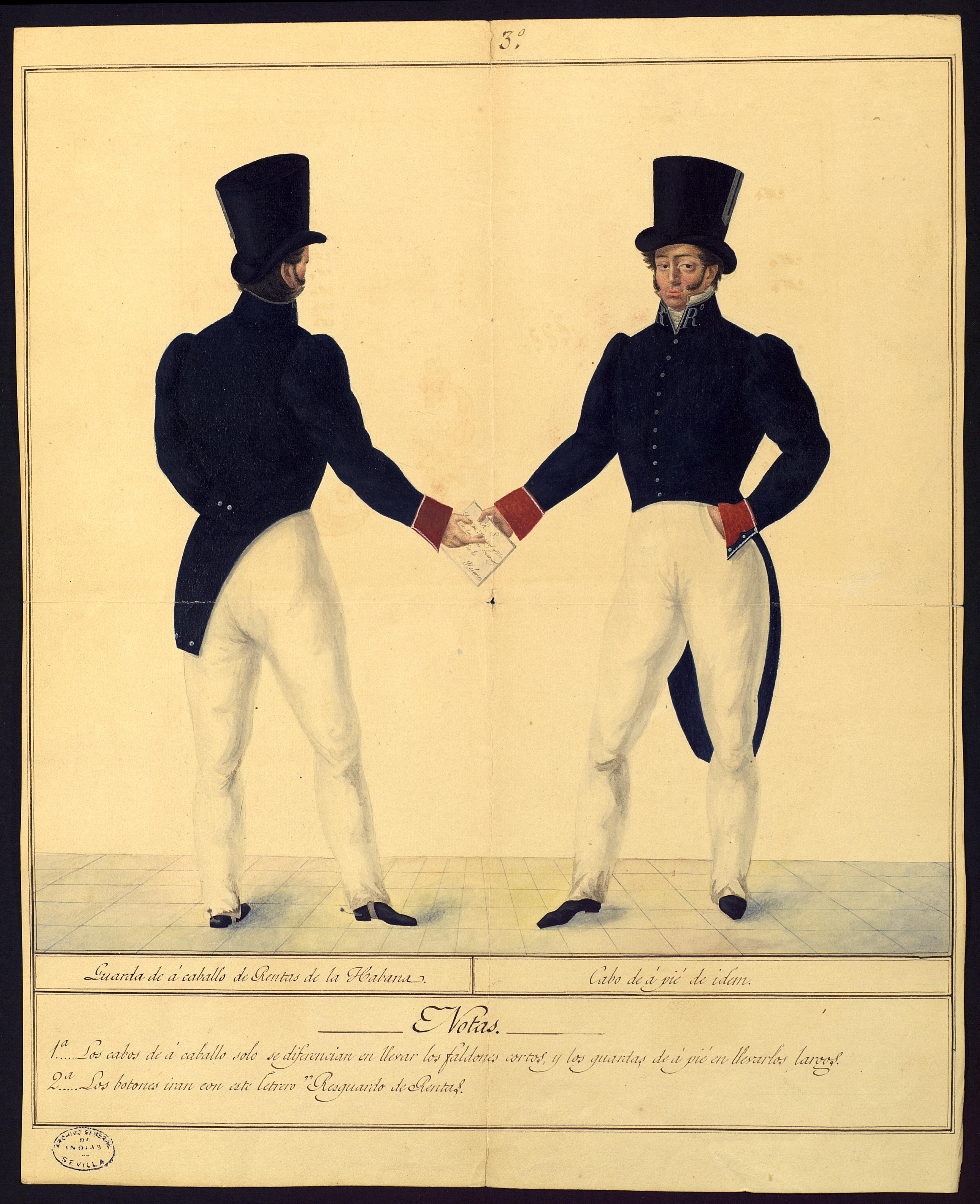 Dos guardas, uno a caballo y otro de a pie de los oficiales destinados al resguardo de Rentas Reales en La Habana, entregándose un pliego del Real Servicio. La Habana, 1830. MP-Uniformes,43bis
