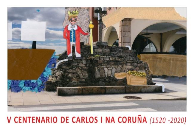 Tarjeta Prefranqueada - Anverso - Conmemorativa de la Exposición V Centenario de Carlos I na Coruña
