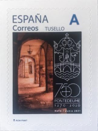 Sello Ayuntamiento 750 aniversario Pontedeume