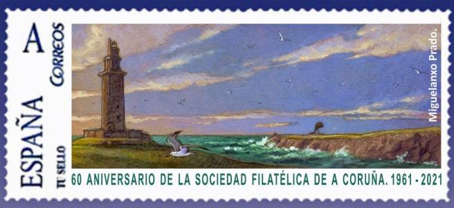 Sello 60 anviersario de la Sociead Filatélica de A Coruña 1961-2021